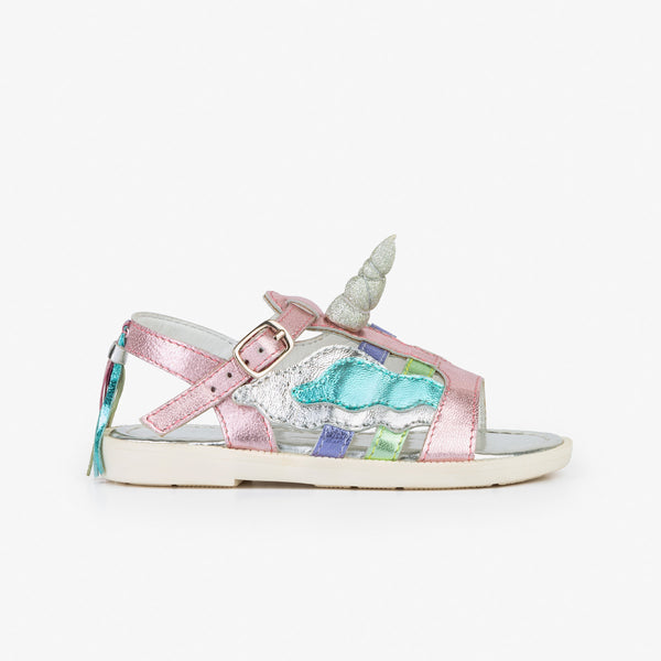 Girl's Unicorn Leather Sandals