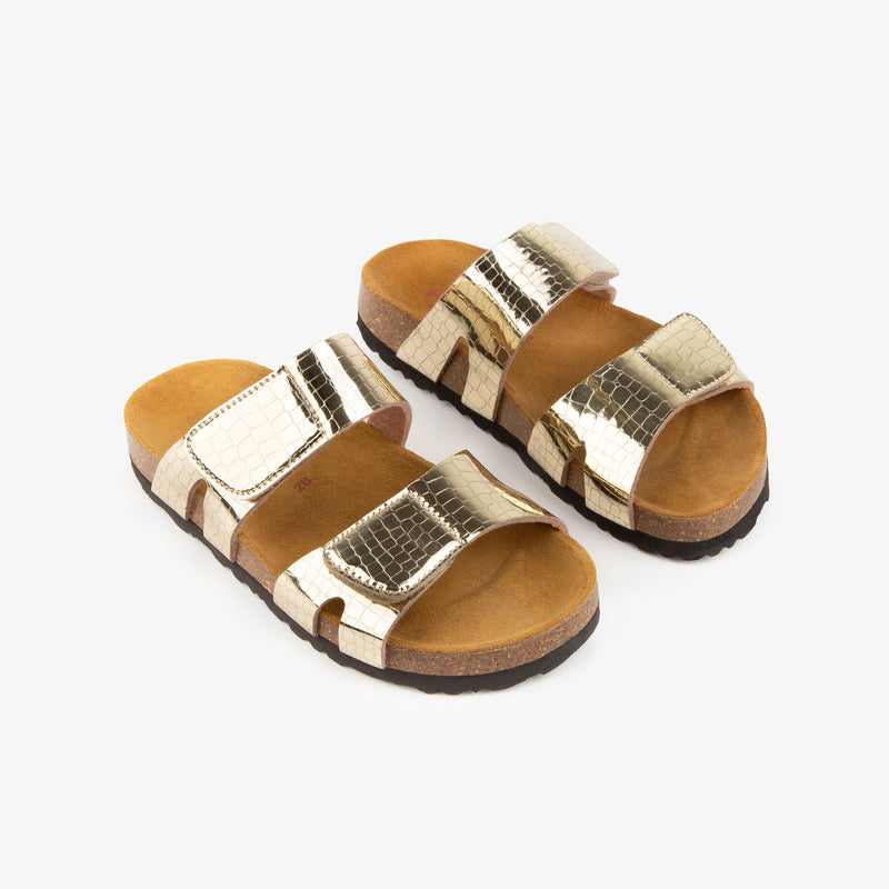 Girl's Platinum Velcro Bio Sandals