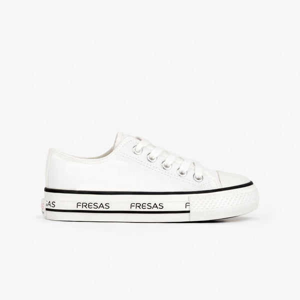 Girl's White Canvas Platform Sneakers