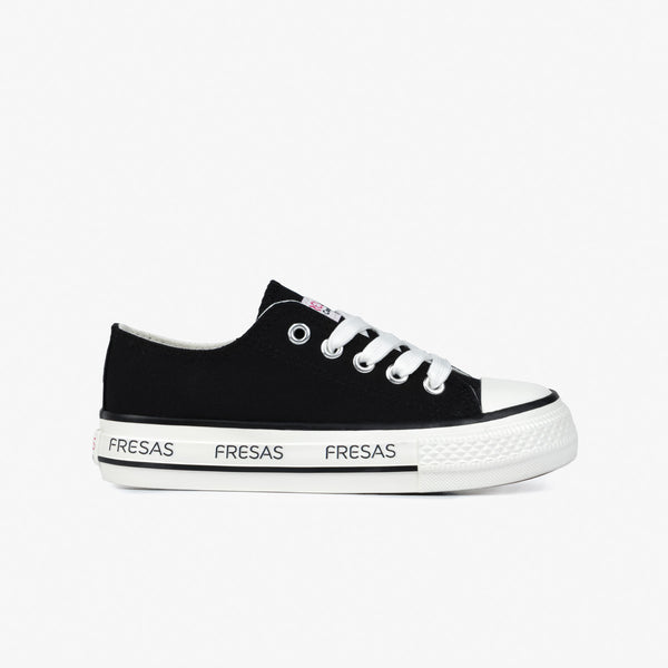 Girl's Black Canvas Platform Sneakers