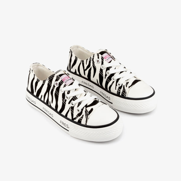 Girl's Zebra Canvas Platform Sneakers