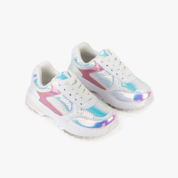 Girl's Iridescent Silver Sneakers