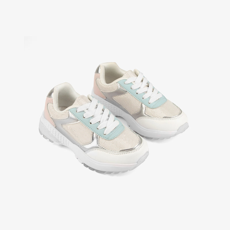 Girl's White Mesh Sneakers