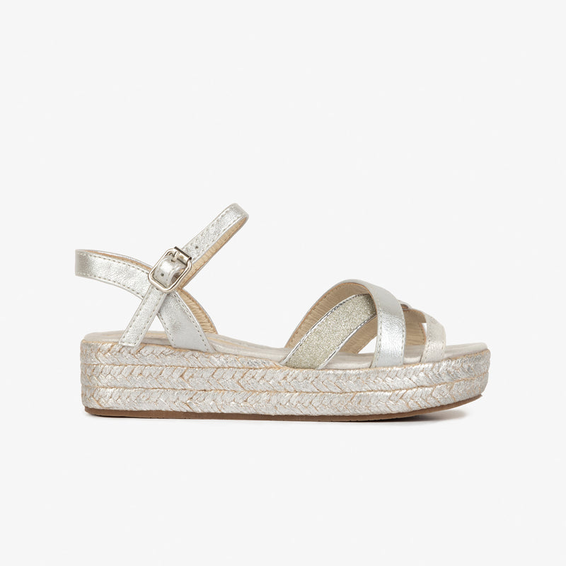Girl's Silver Glitter Wedge Sandals