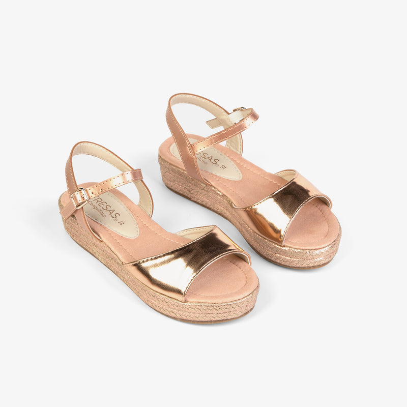 Girl's Magnesium Metallized Wedge Sandals