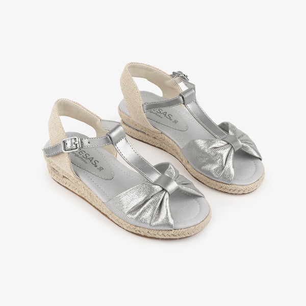 Girl's Silver Wedge Canvas Sandals