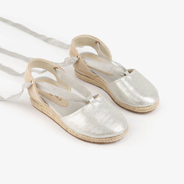 Girl's Silver Wedge Canvas Espadrilles
