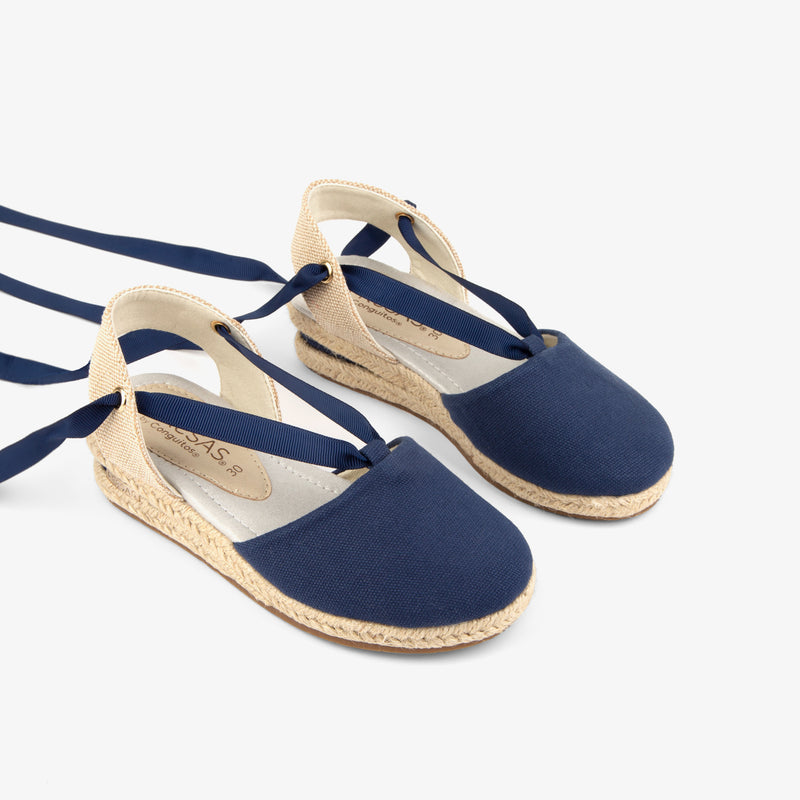 Girl's Navy Wedge Canvas Espadrilles