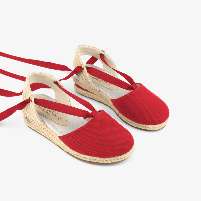 Girl's Red Wedge Canvas Espadrilles