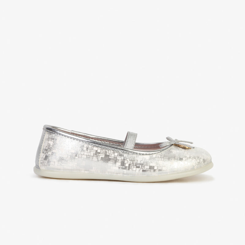 "Girl's ""Tetrix"" Silver Ballerinas"