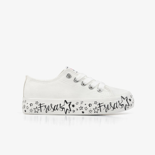 Girl's White Printed Canvas Sneakers