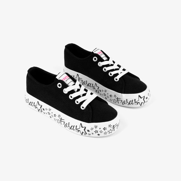 Girl's Black Printed Canvas Sneakers