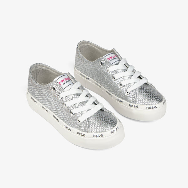 Girl's Metallized Silver Canvas Sneakers