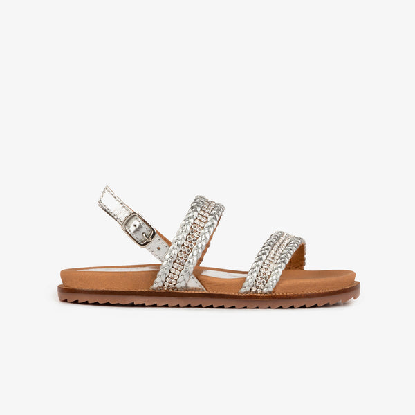 Girl's Silver Strass Leather Sandals