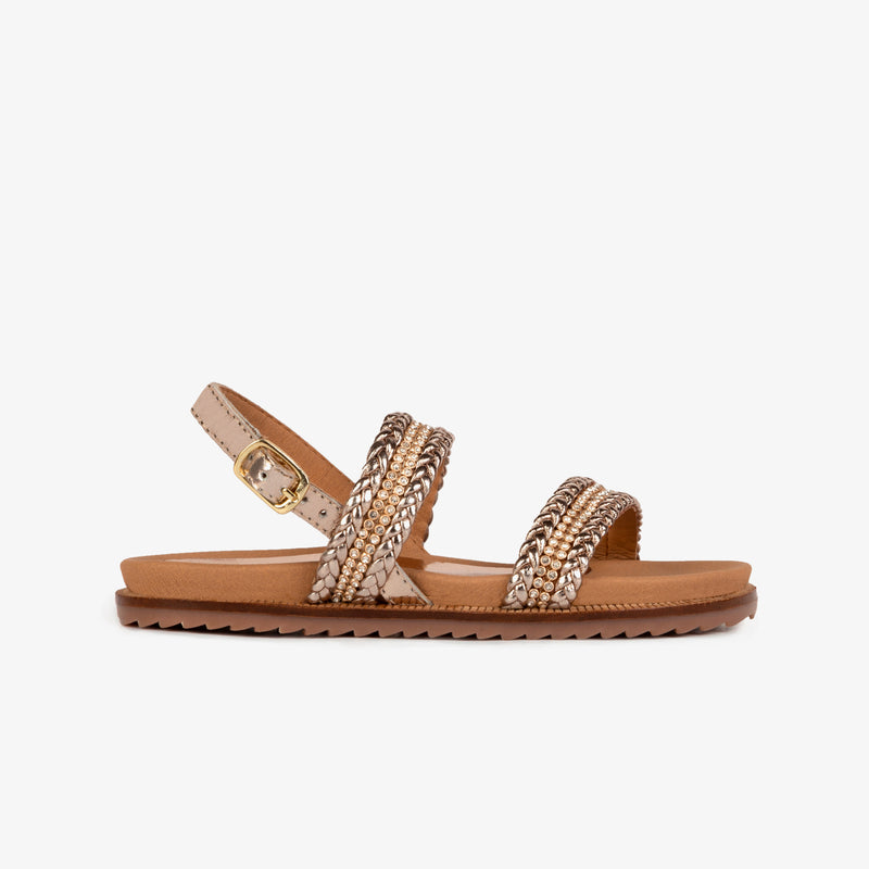 Girl's Platinum Strass Leather Sandals