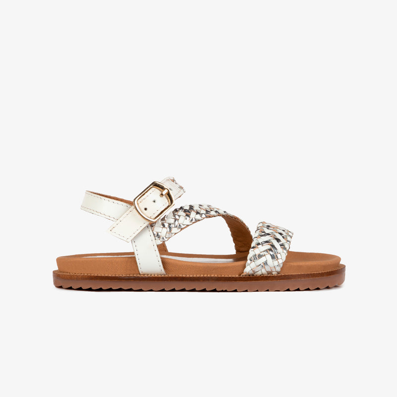 Girl's White Braided Leather Sandals