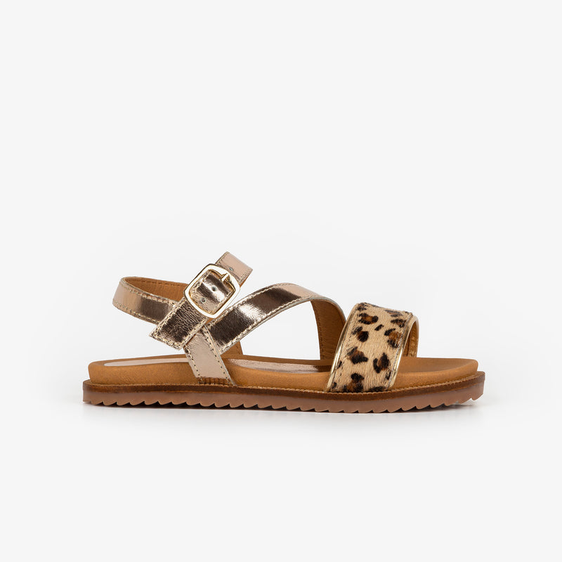 Girl's Leopard Platinum Leather Sandals