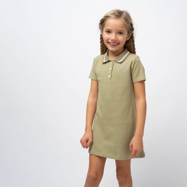 Girl's Khaki Polo Dress