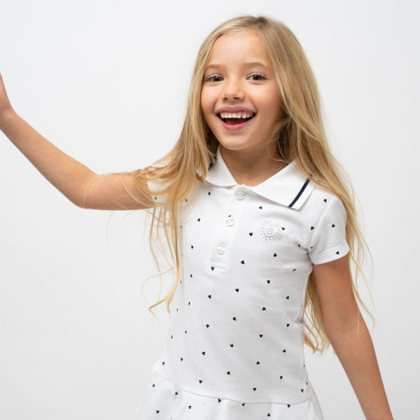 Girl's White Polo Ruffled Dress