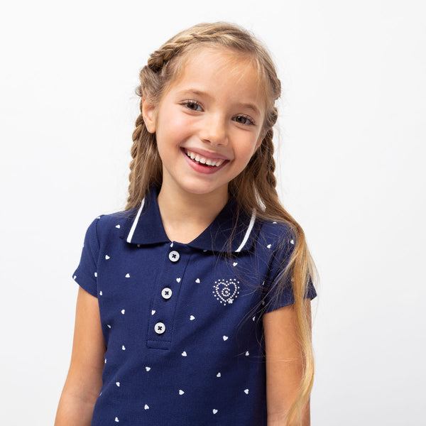 Girl's Navy Polo Ruffled Dress