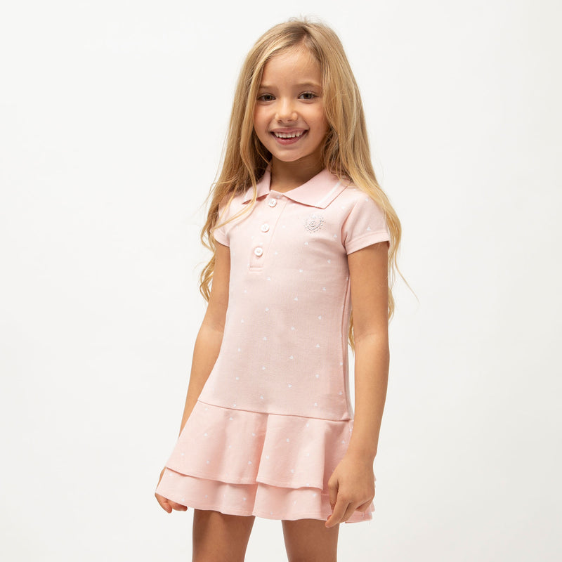 Girl's Pink Polo Ruffled Dress