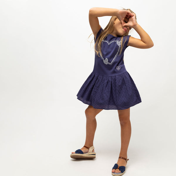 "Girl's ""Heart"" Navy Dress"