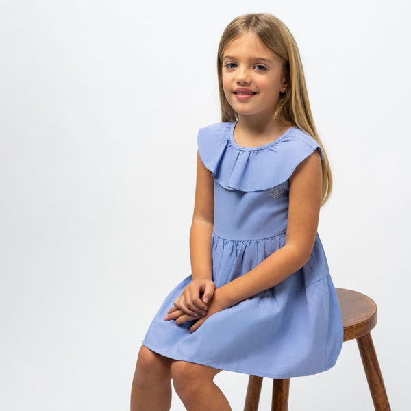 Girl's Navy Ruffled Dress
