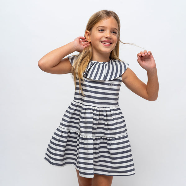 Girl's Navy Ruffled Striped Dress