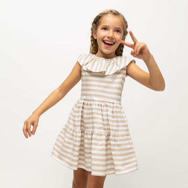 Girl's Beige Ruffled Striped Dress