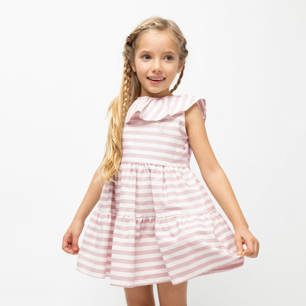 Girl's Pink Ruffled Striped Dress