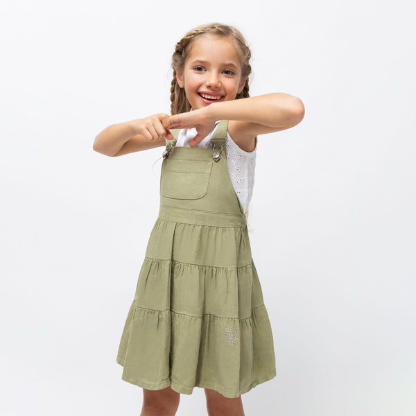 Girl's Khaki Pinafore Dress