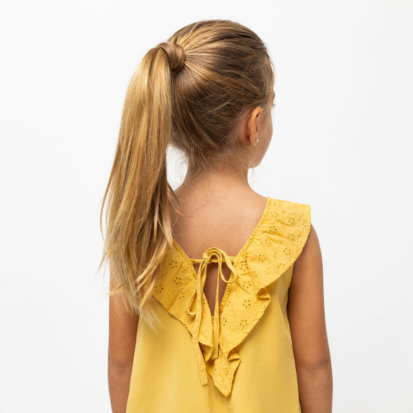 Girl's Mustard Tencel Dress