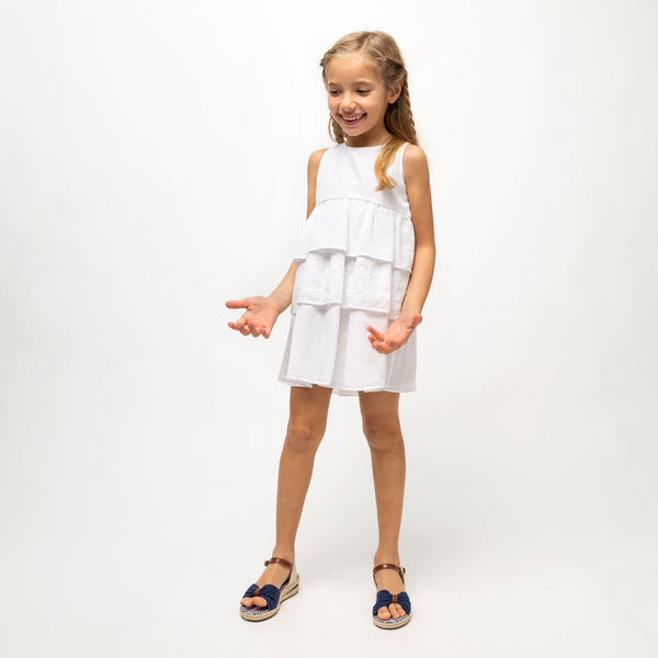 Girl's White Ruffled Dress