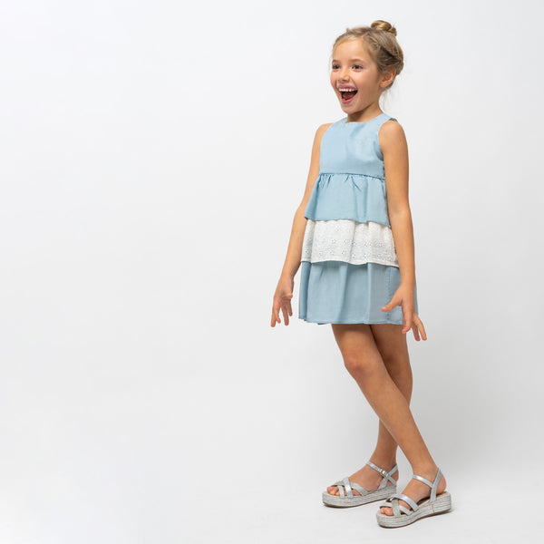 Girl's Denim Ruffled Dress