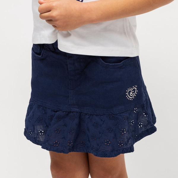 Girl's Navy Ruffled Flared Skirt