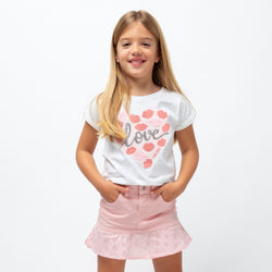 Girl's Pink Ruffled Flared Skirt