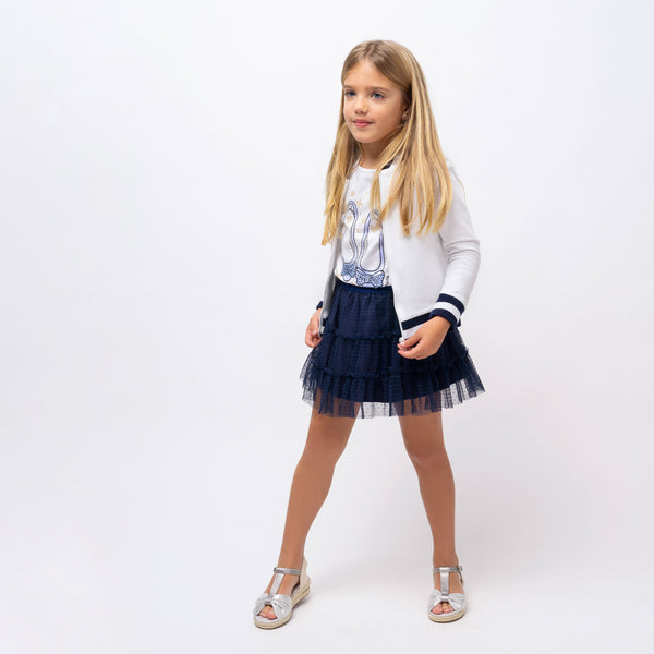 Girl's Navy Plumeti Tulled Skirt