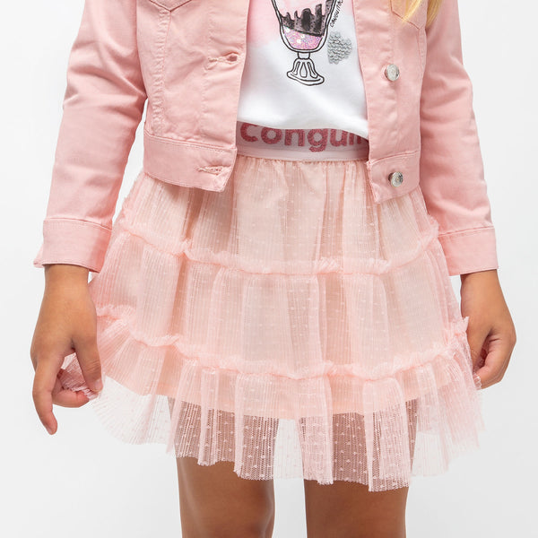 Girl's Pink Plumeti Tulled Skirt