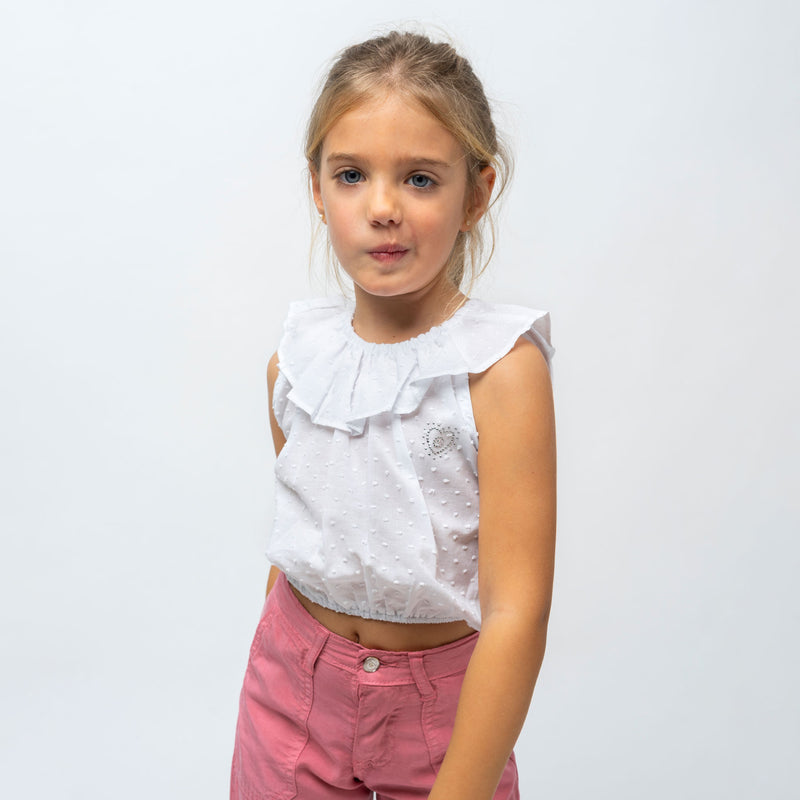 Girl's White Ruffled Top