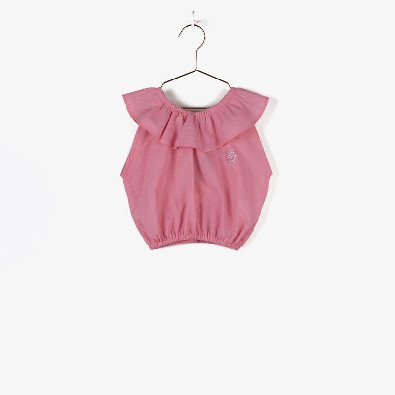 Girl's Pink Ruffled Top