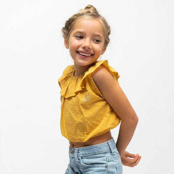 Girl's Mustard Ruffled Top