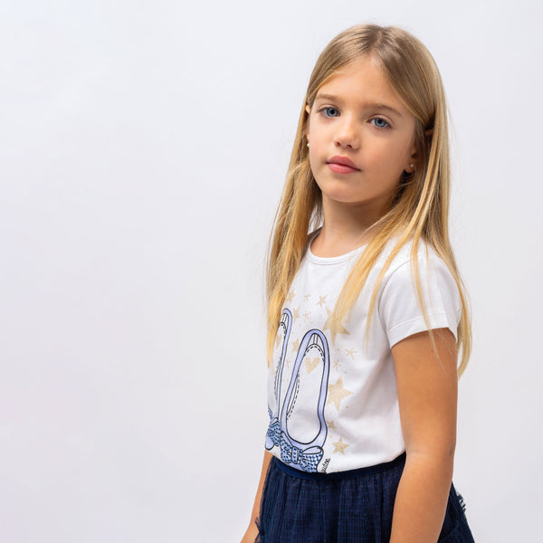 "Girl's ""Ballerinas"" Light Blue T-shirt"