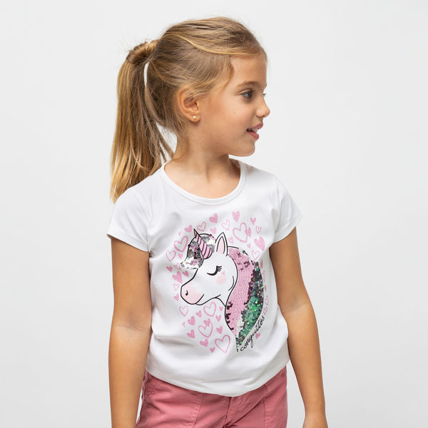 "Girl's ""Unicorn"" Reversible Sequins T-shirt"