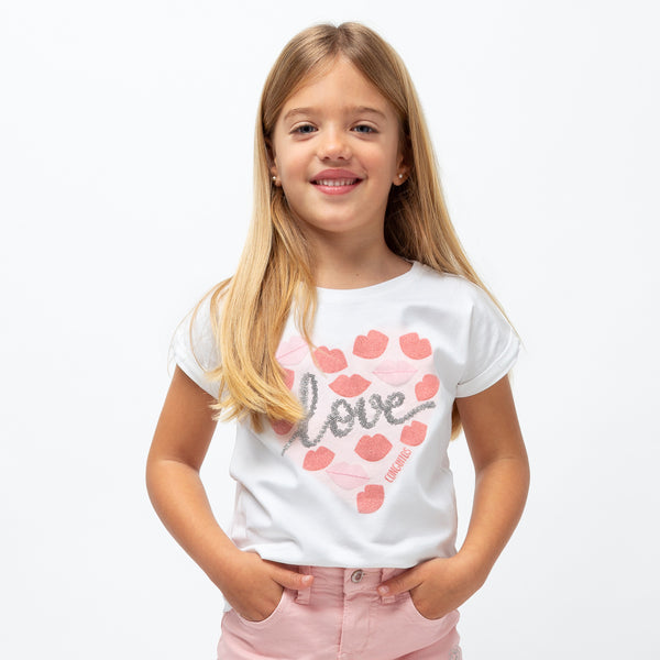 "Girl's ""Love Kiss"" White T-Shirt"