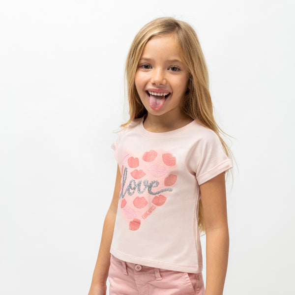 "Girl's ""Love Kiss"" Pink T-Shirt"