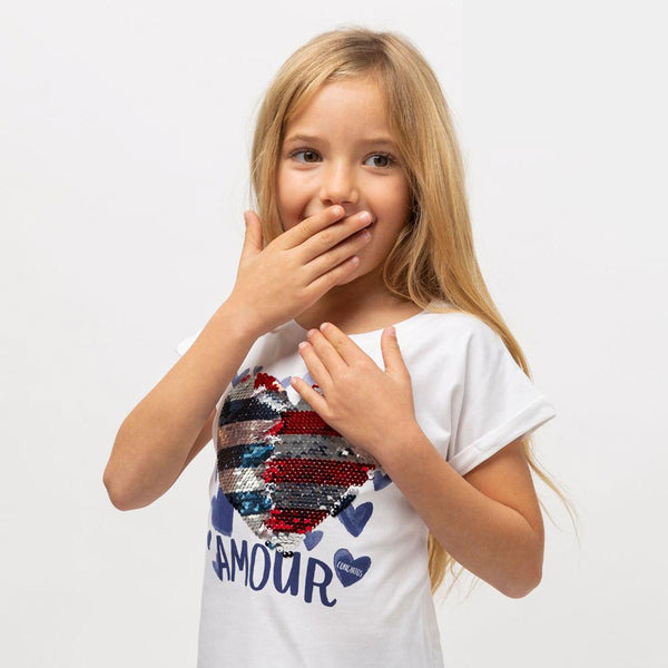 "Girl's ""Amour"" Reversible Sequins T-Shirt"