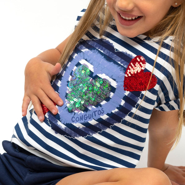 Girl's Navy Reversible Sequins T-Shirt