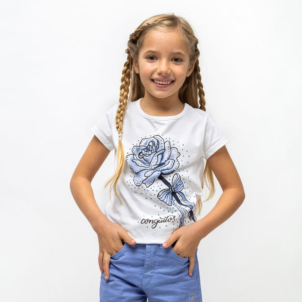 "Girl's ""Rose"" Light Blue Strass T-Shirt"