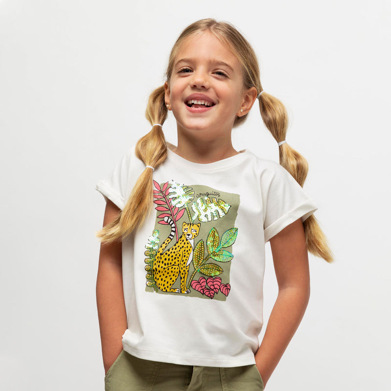 "Girl's ""Jungle"" Sequins T-Shirt"