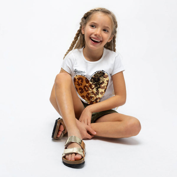 "Girl's ""Heart"" Reversible Sequins T-Shirt"